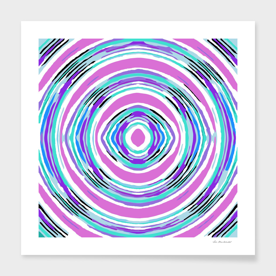 psychedelic graffiti circle pattern in pink blue purple