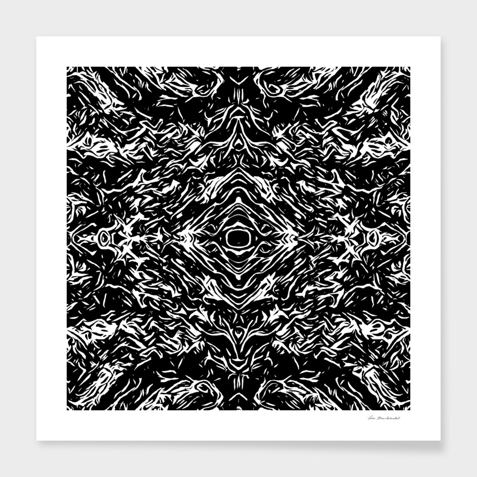psychedelic graffiti symmetry abstract in black and white