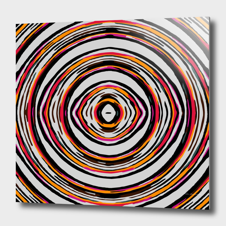psychedelic geometric graffiti circle abstract in red orange