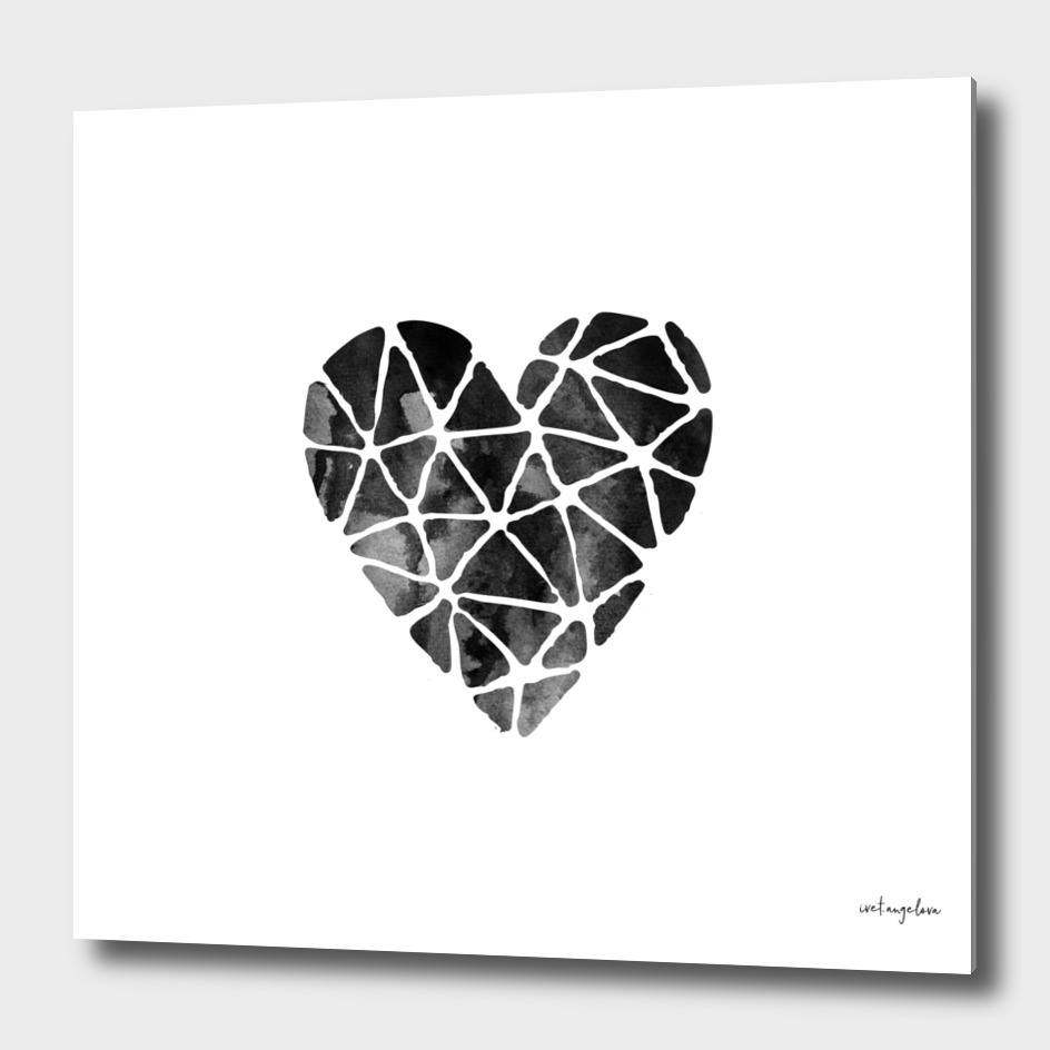 Watercolor Heart in Black