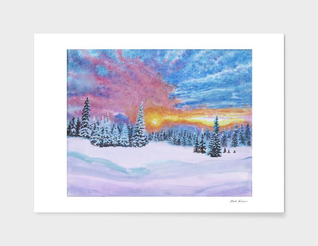 Sunset in a Winter Wonderland