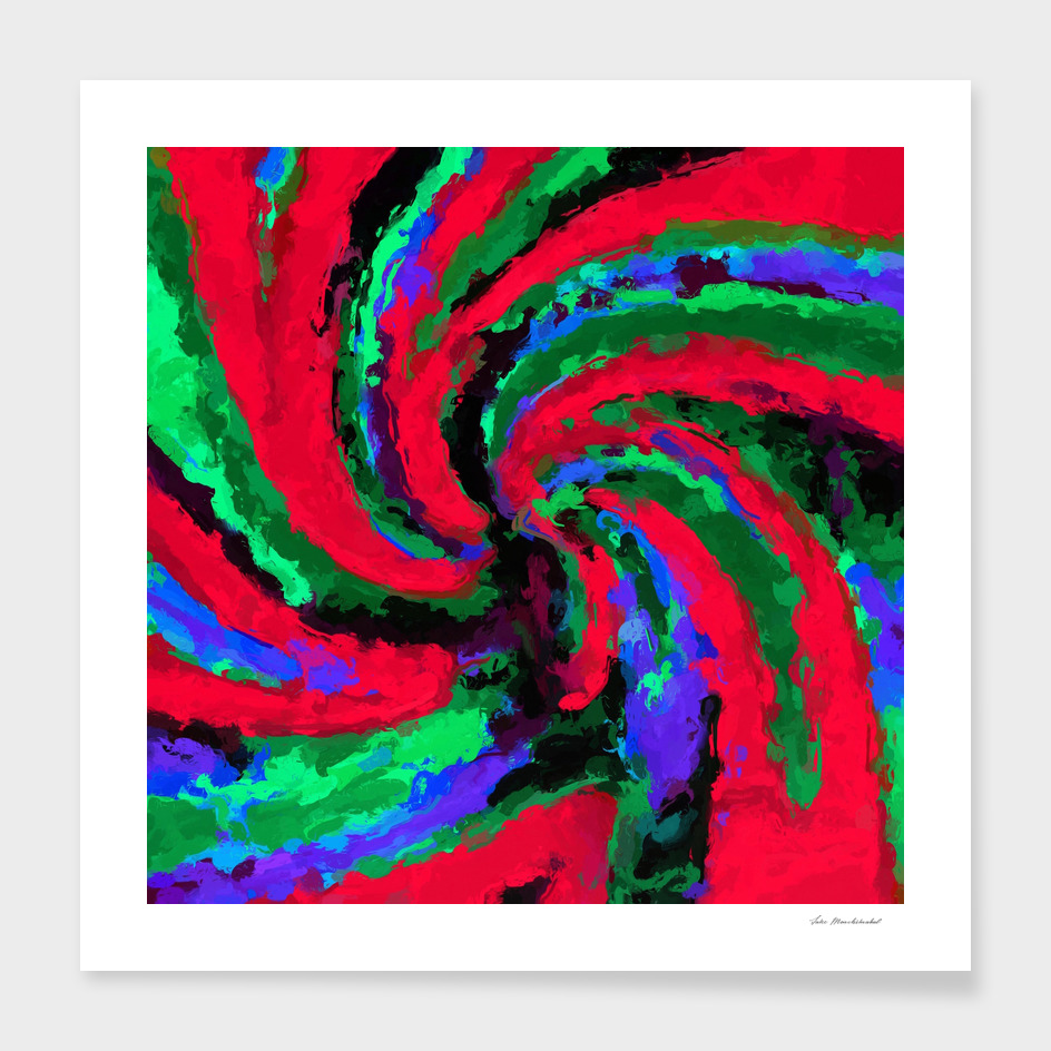 psychedelic graffiti splash painting abstract in red green