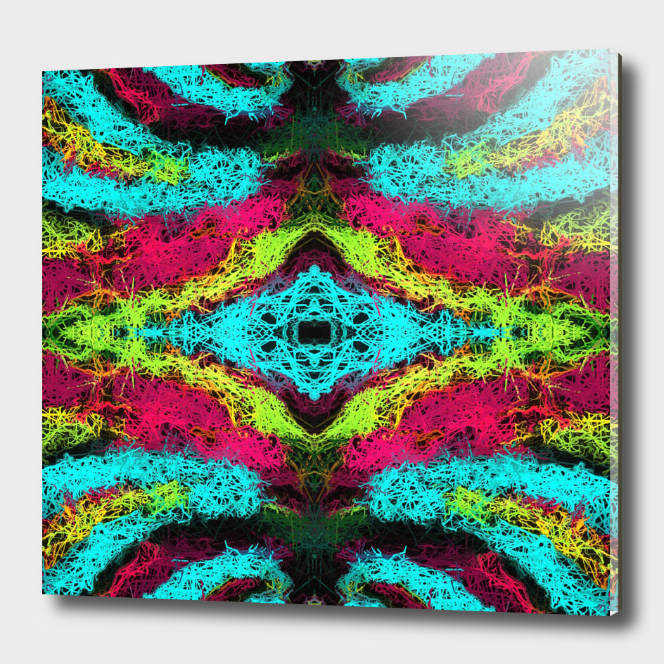 psychedelic graffiti geometric abstract in blue pink yellow
