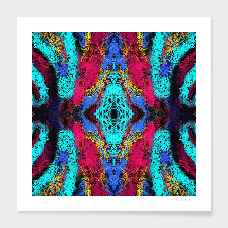 psychedelic graffiti geometric drawing abstract in blue pink