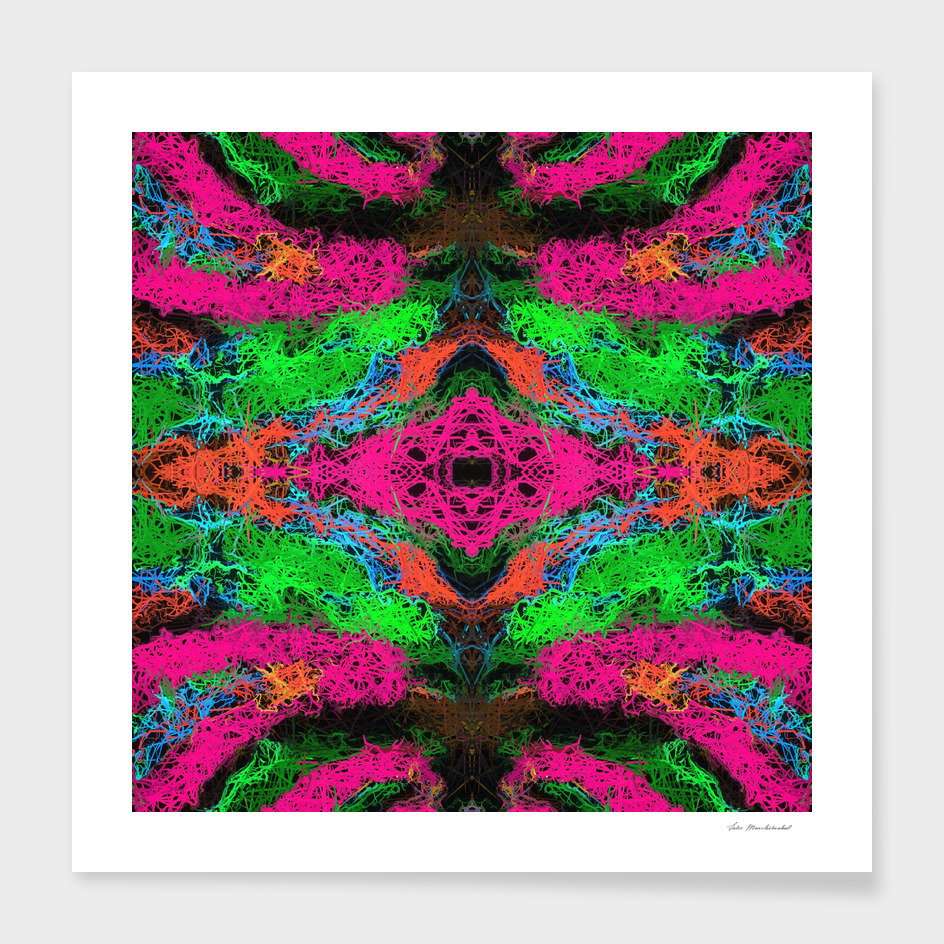 psychedelic graffiti geometric abstract in pink green blue