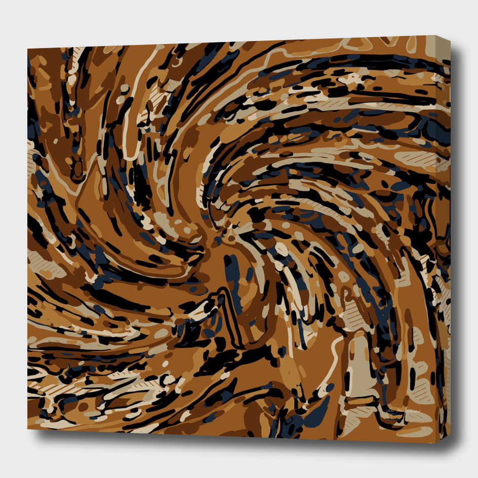 psychedelic graffiti drawing abstract in brown and blue