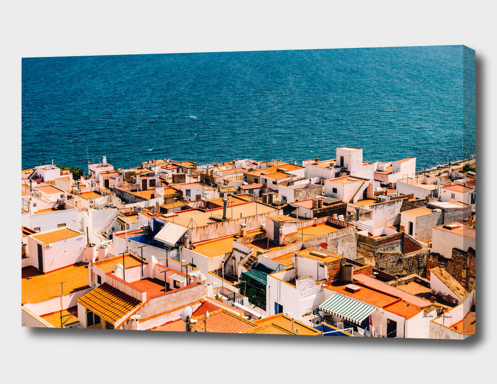 Aerial Panoramic View Of Peniscola City In Spain