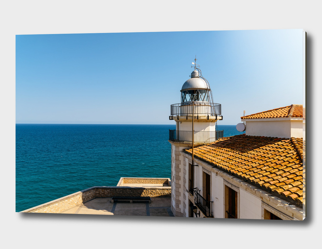 Lighthouse With Mediterranean Sea As Background