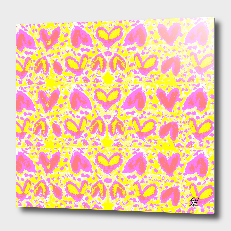 Lavender Hearts on Yellow & White Back