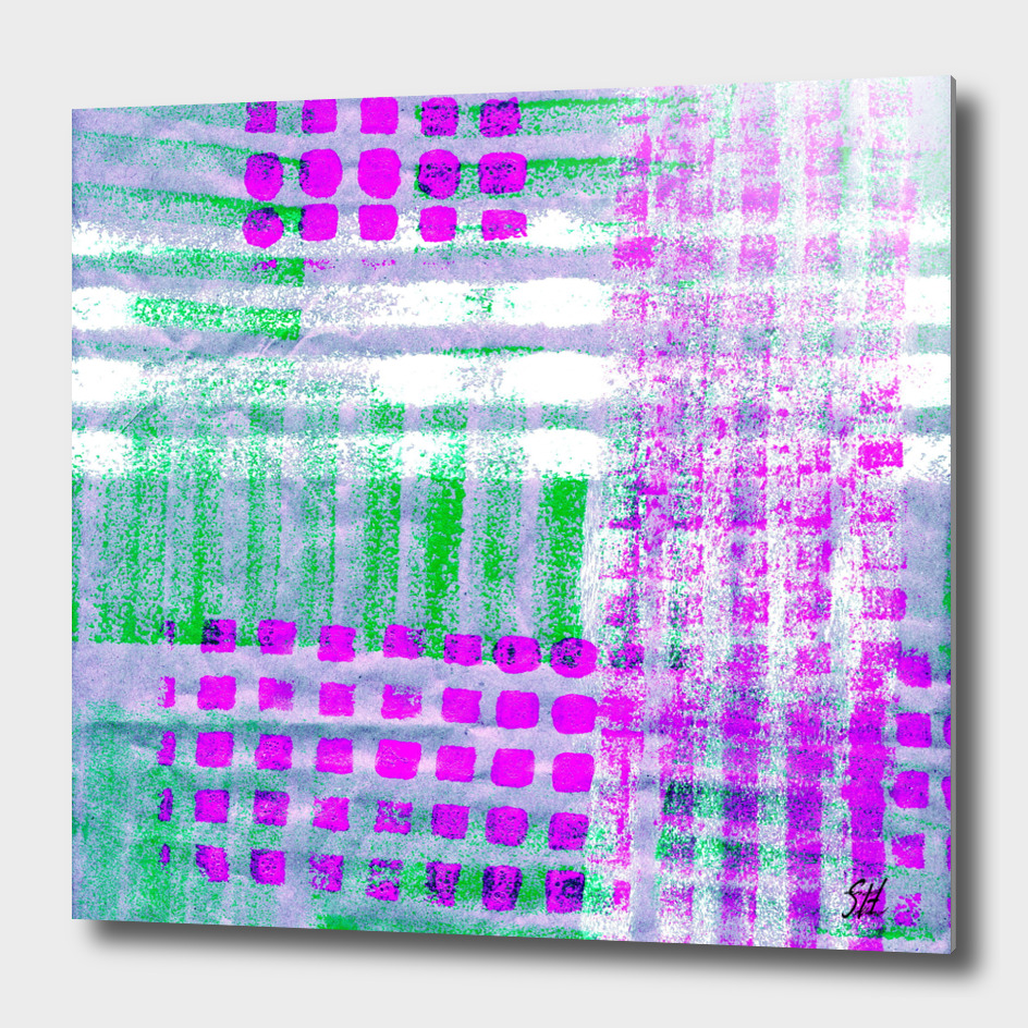 Odd Plaid Pattern In Fuchsia, Green, Blue & White