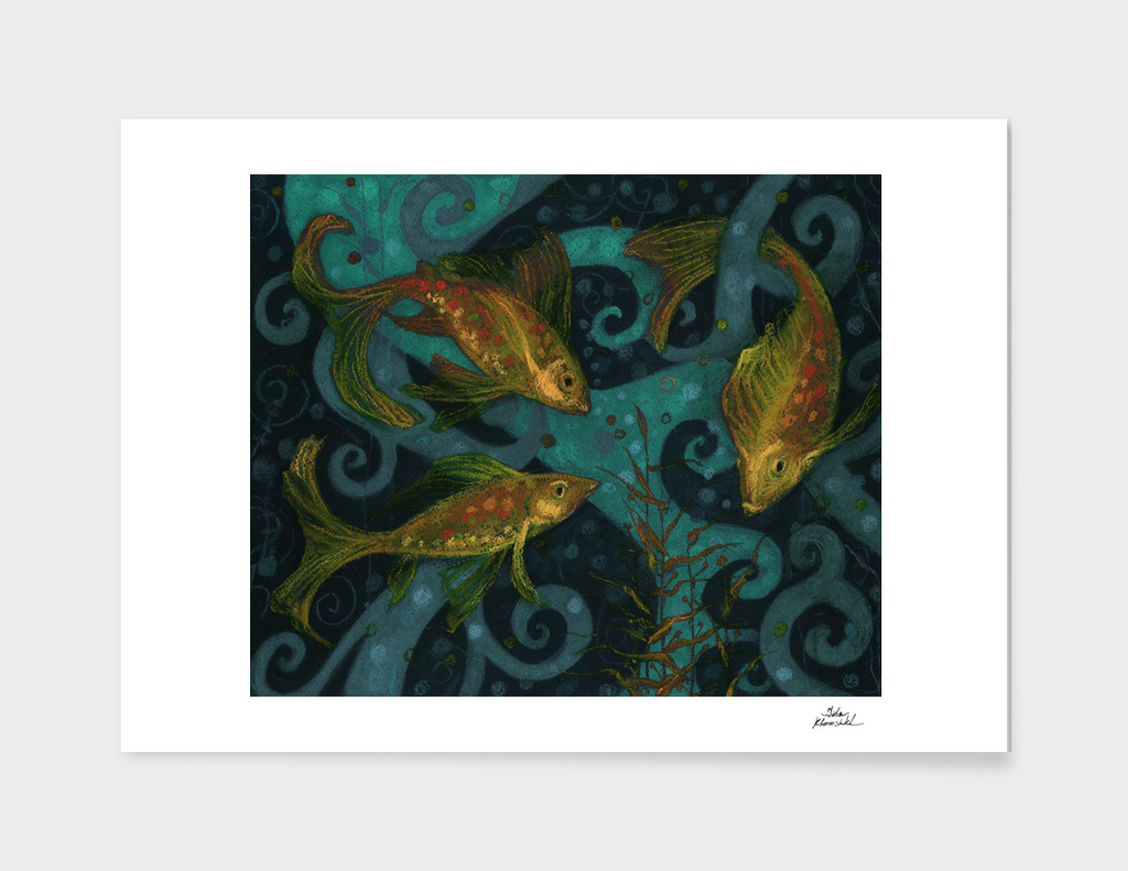 Golden Fish, Underwater Art Black Teal Yellow