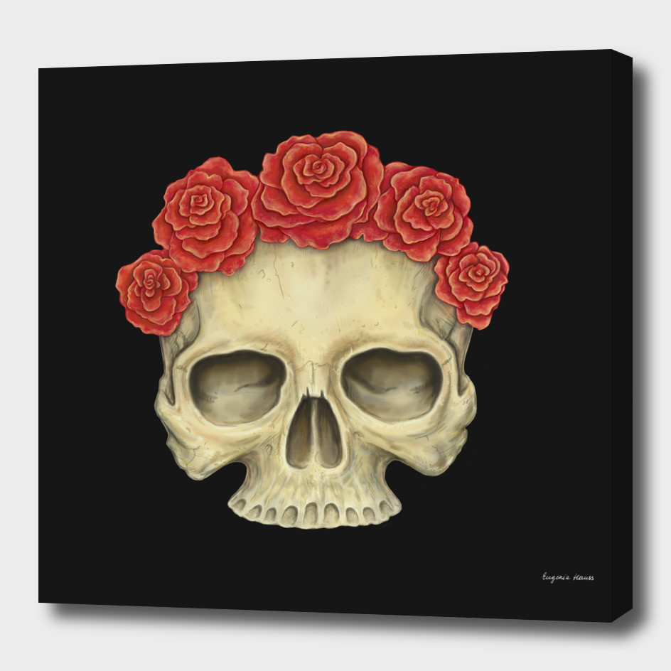 A Human Skull and Roses