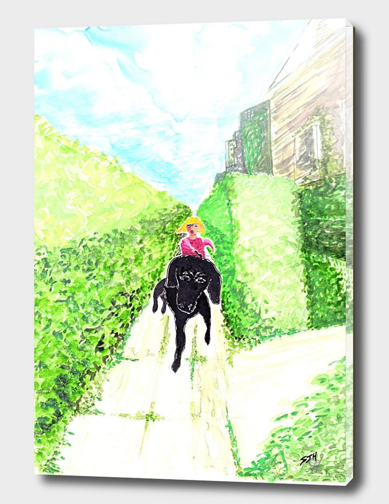 Big Black Dog On A Walk
