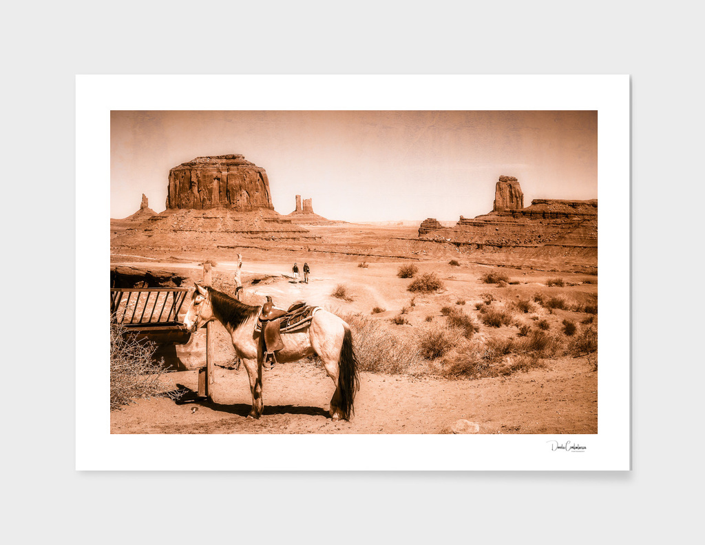 A Horse in the Wild West scene -vintage look.