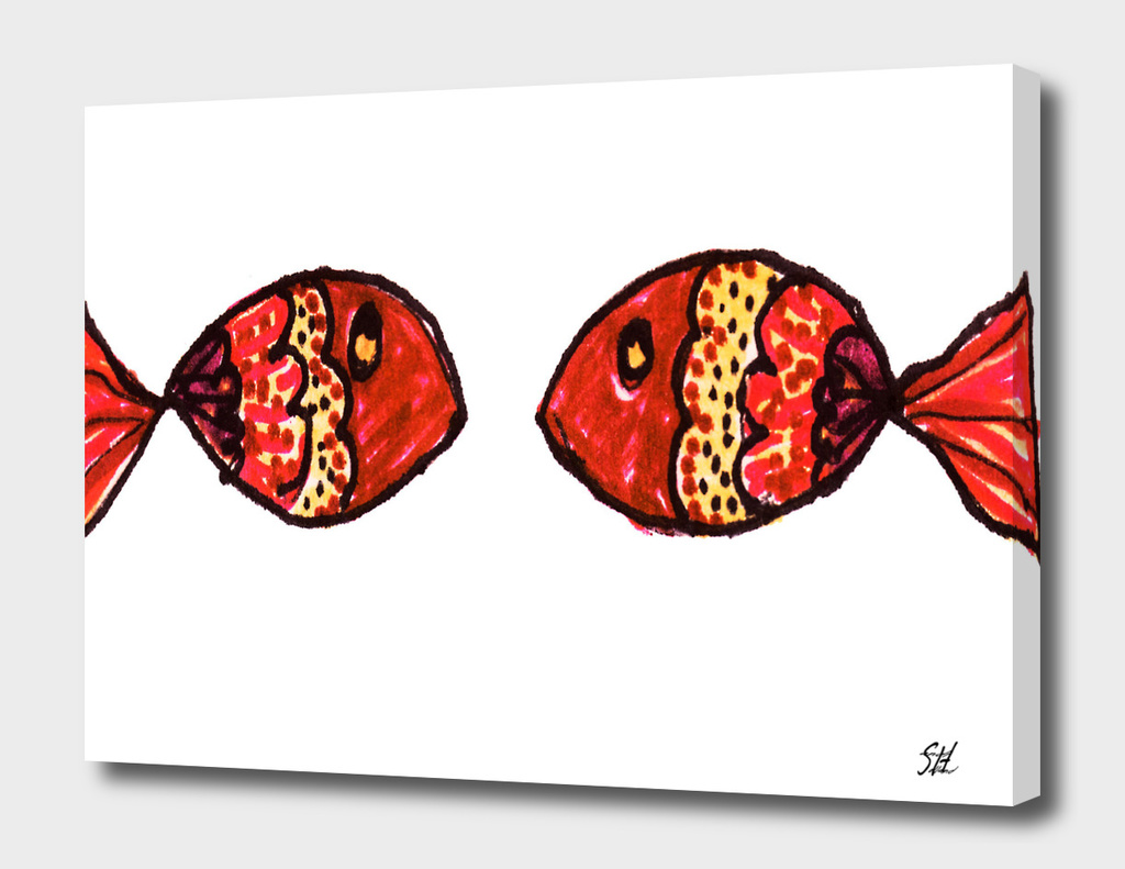 Two Red Brown Gold Painted Fish On White Back