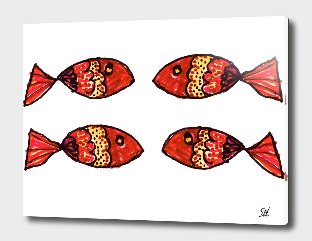 Four Red Brown Gold Painted Fish On White Back
