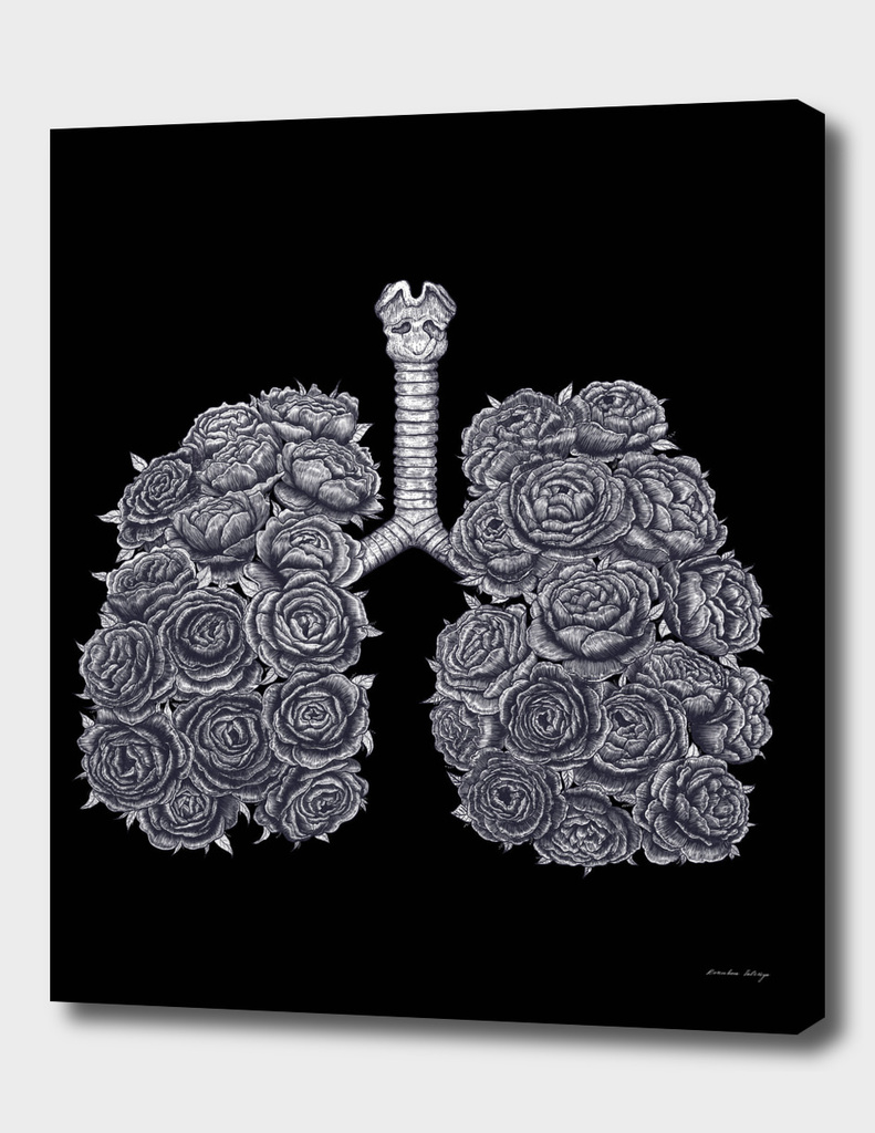 Lungs with peonies on black