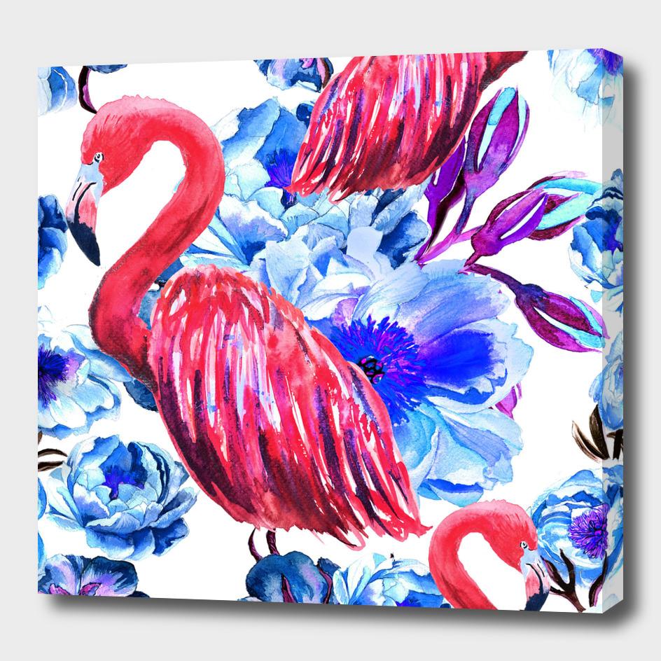 Flamingo in flowers of peonies
