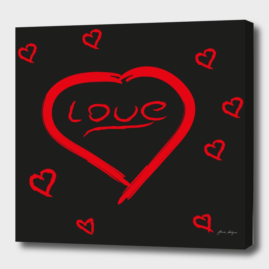 valentine heart vector icon vintage script font Vecto