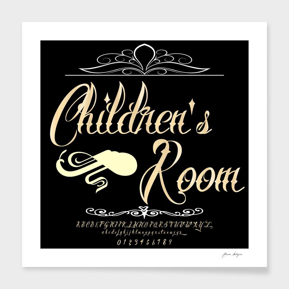 Font Script Typeface Children's Room vintage script f