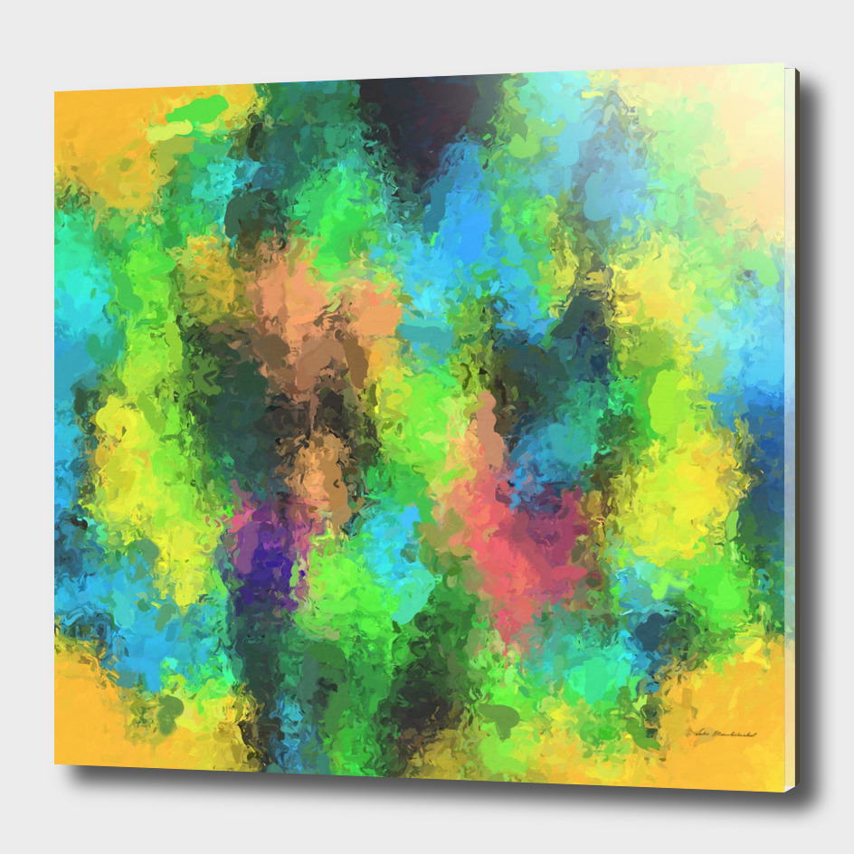 psychedelic graffiti painting in yellow green pink blue