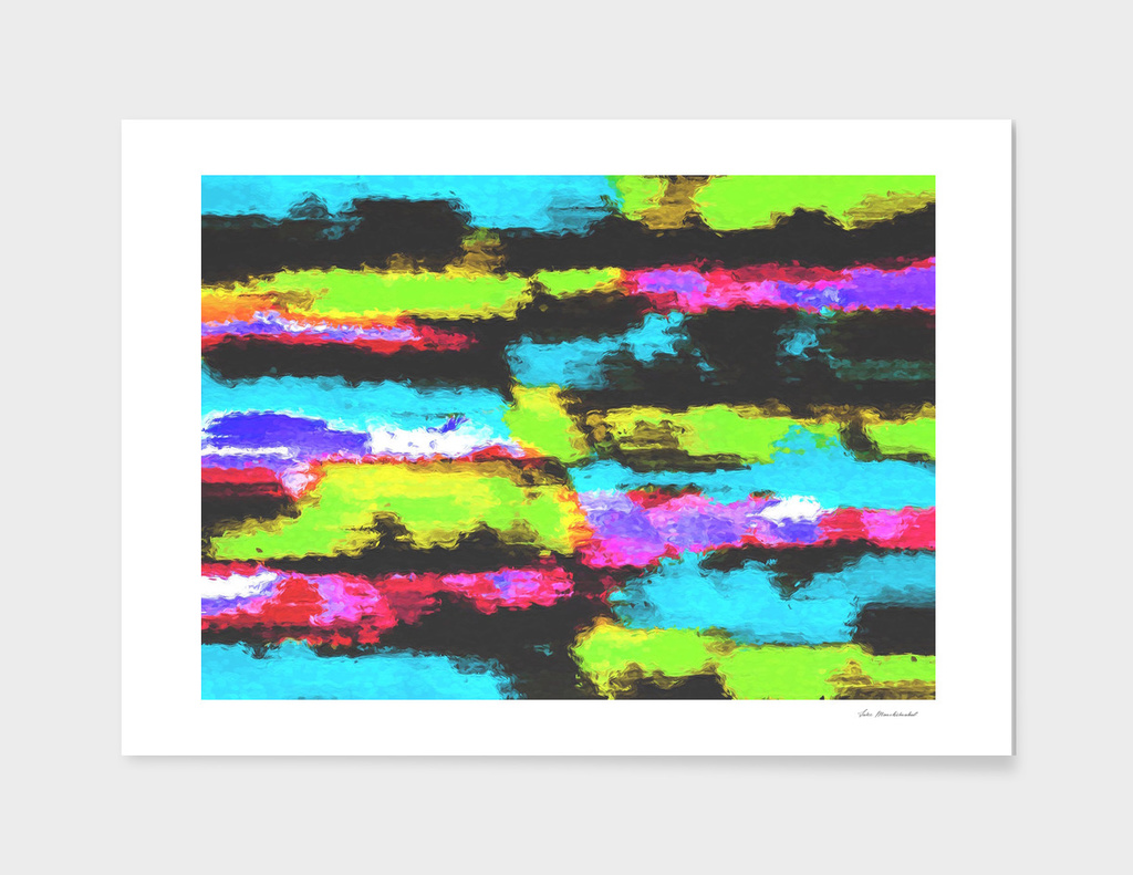 graffiti splash painting abstract in blue green pink black