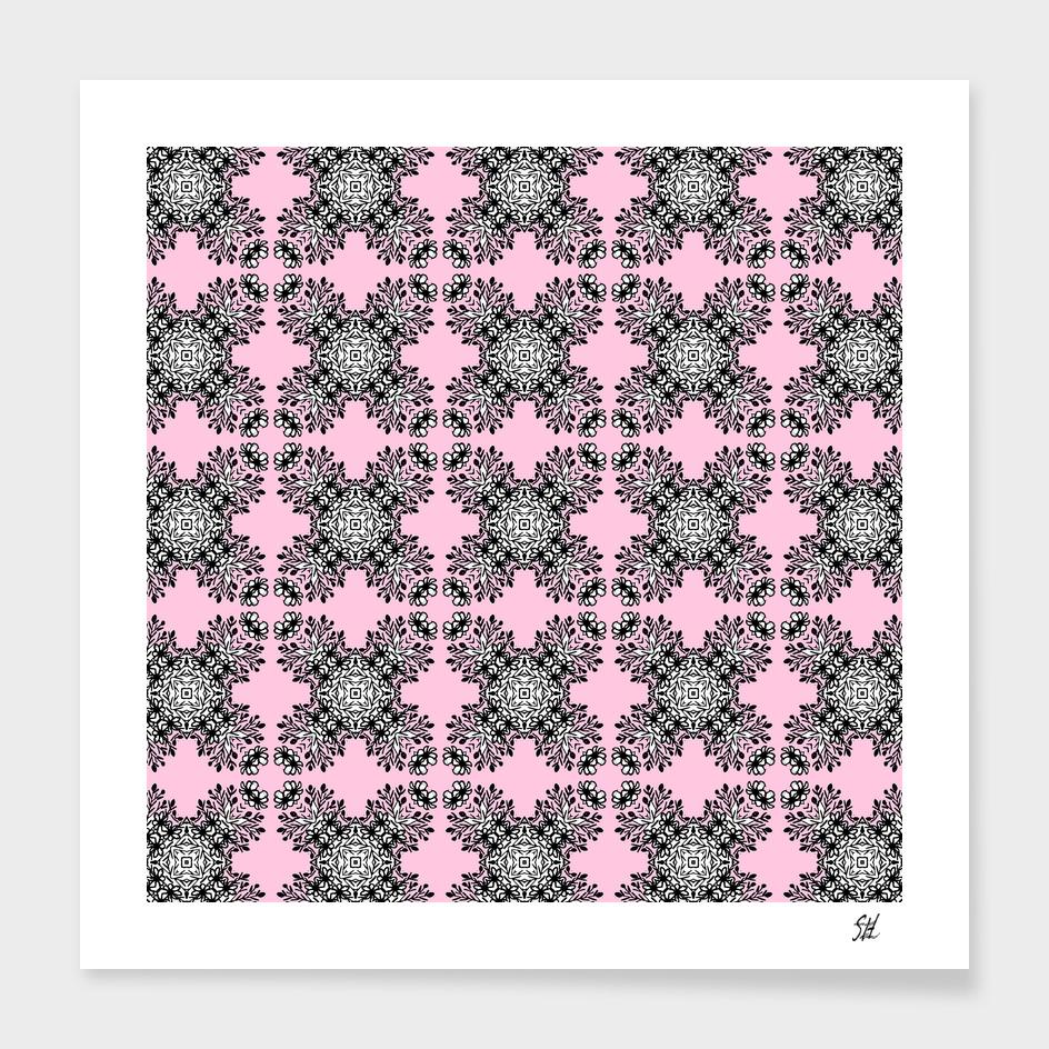 Pink Symmetrical Pattern On White