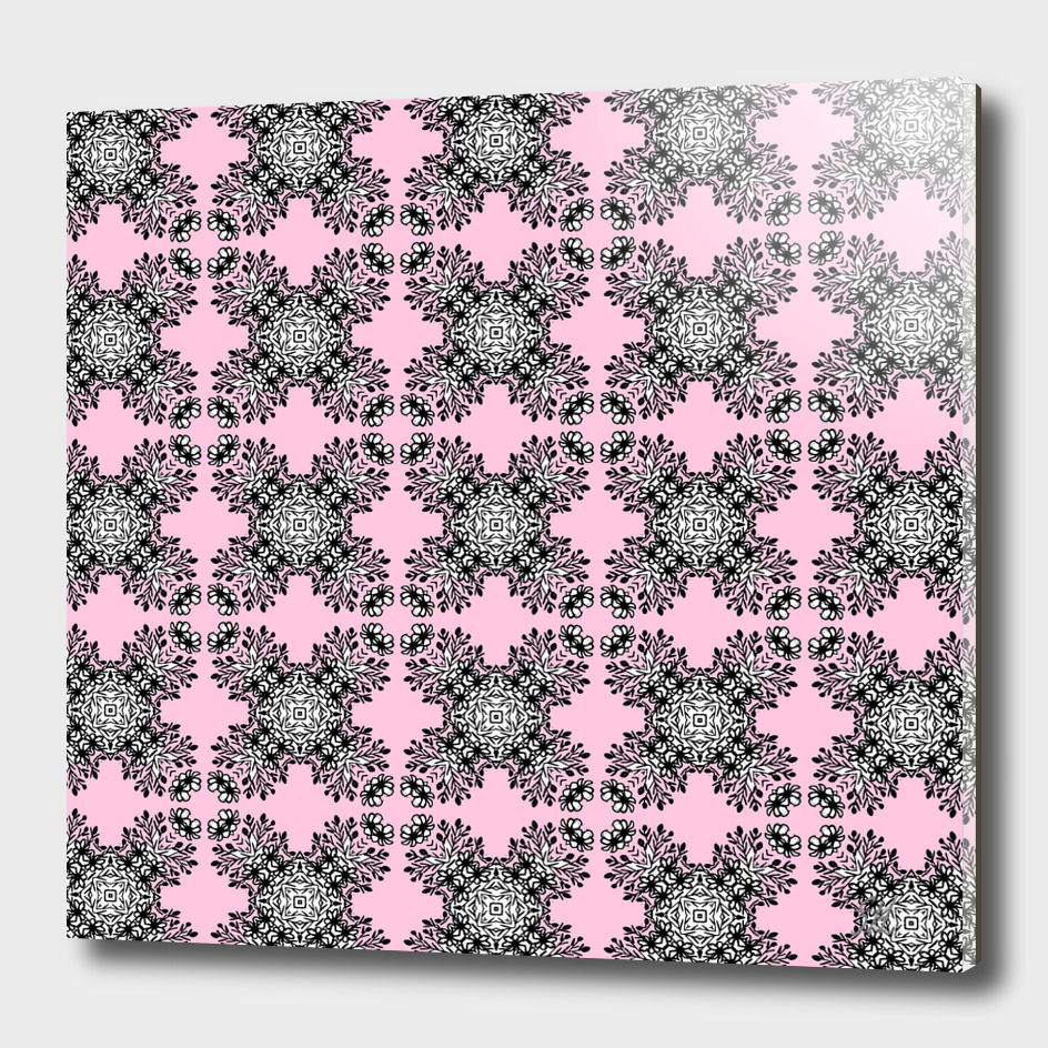 Pink Symmetrical Pattern On White