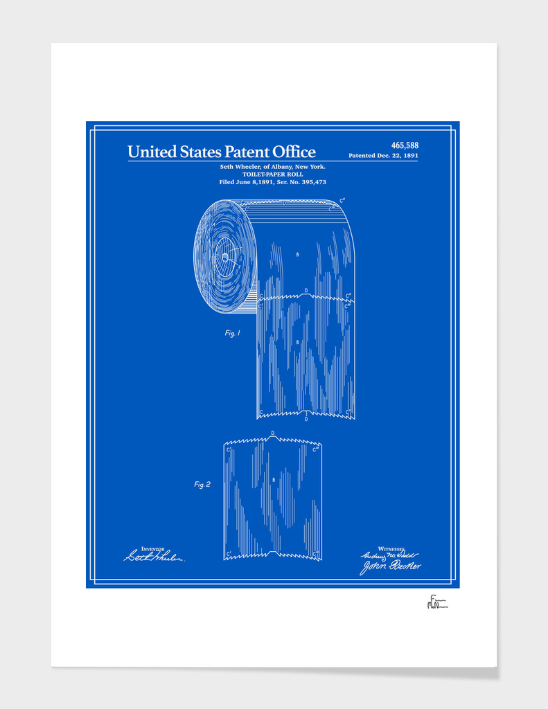 Toilet Paper Roll Patent - Blueprint