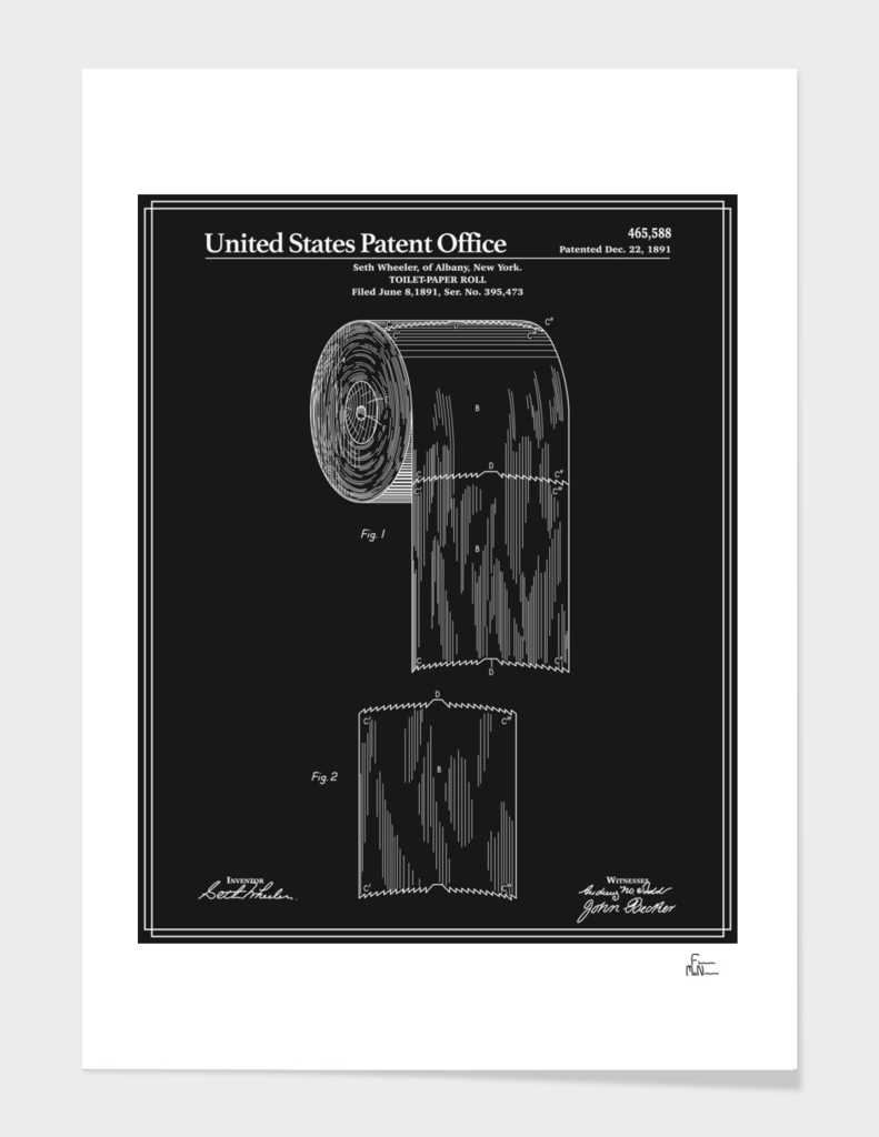 Toilet Paper Roll Patent - Black