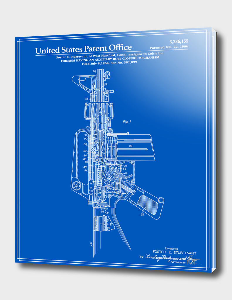 AR-15 Semi-Automatic Rifle Patent - Blueprint