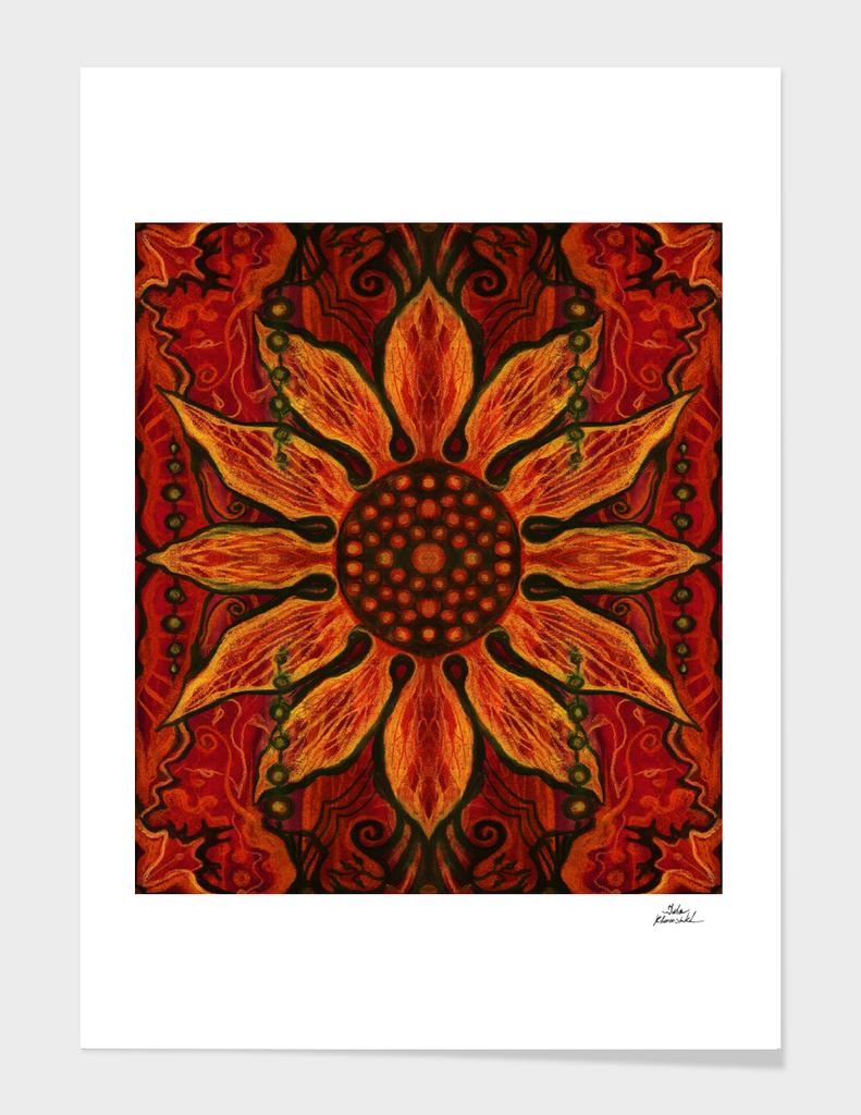 Sun Flower, Red & Black