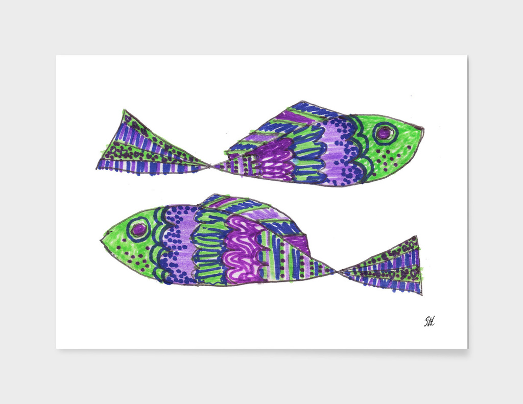 Two Green Blue Purple Painted Fish On White Back