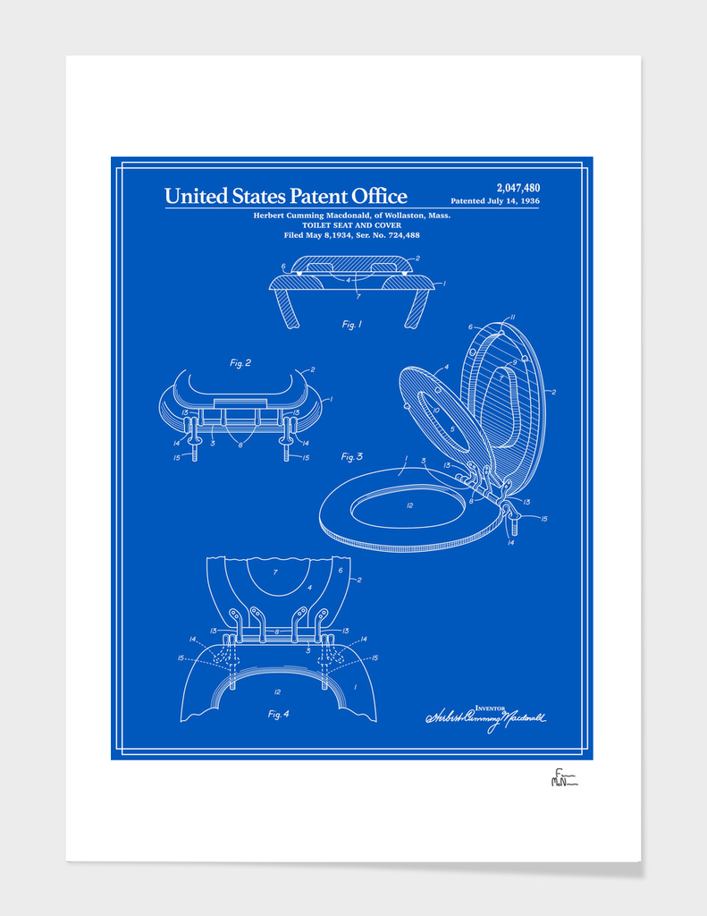 Toilet Seat and Cover Patent - Blueprint