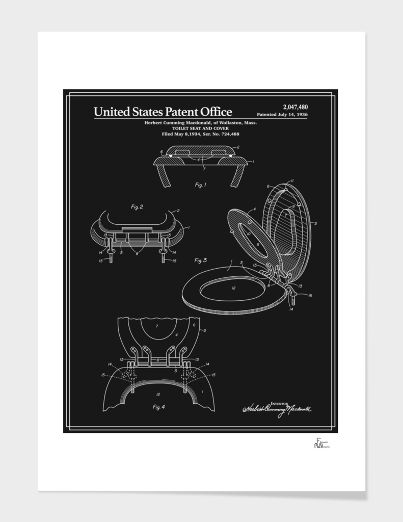 Toilet Seat and Cover Patent - Black