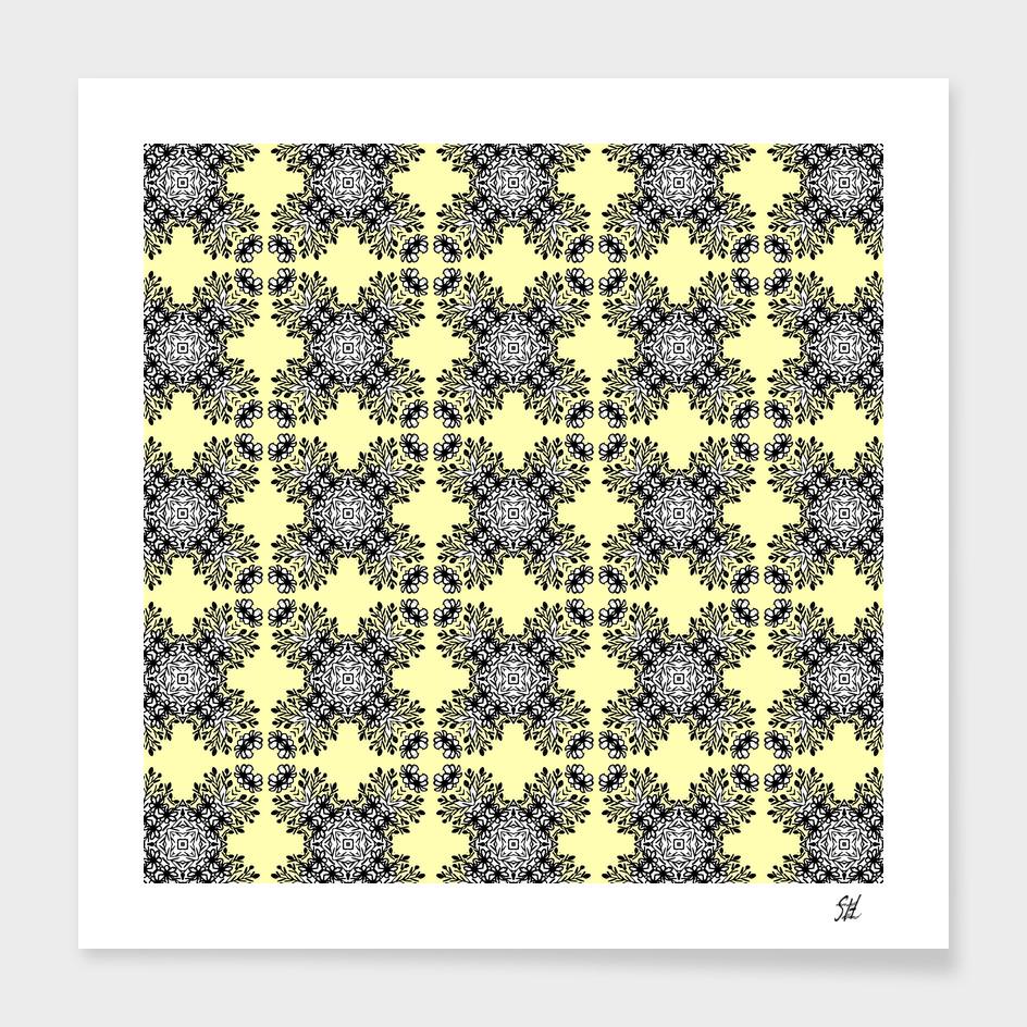 Yellow Black Symmetrical Pattern On White