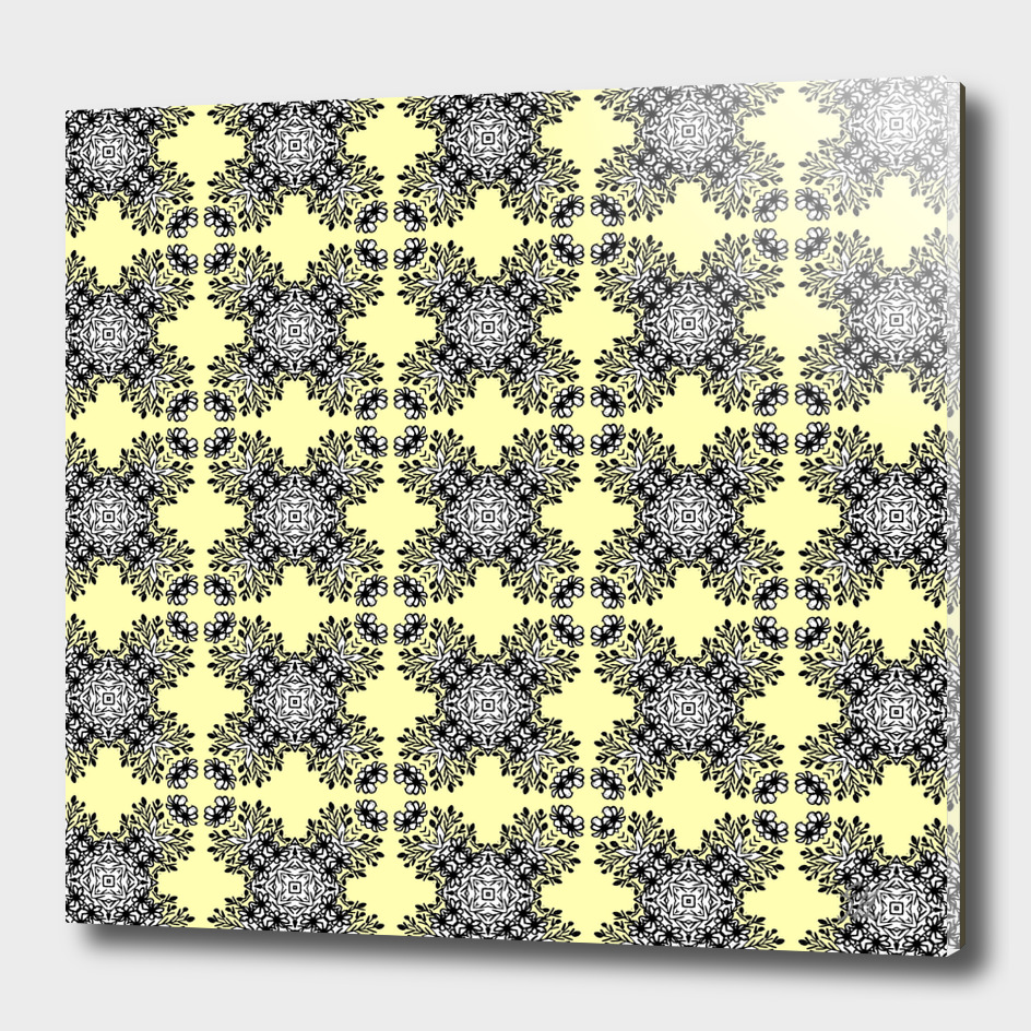 Yellow Black Symmetrical Pattern On White