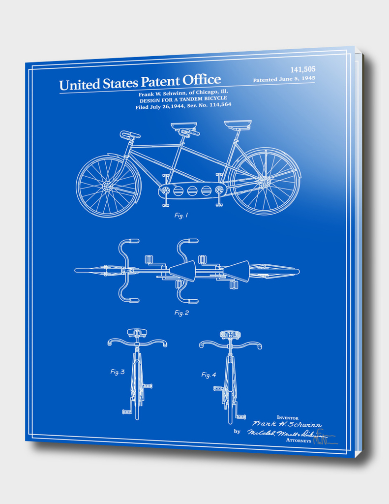 Tandem Bicycle Patent - Blueprint