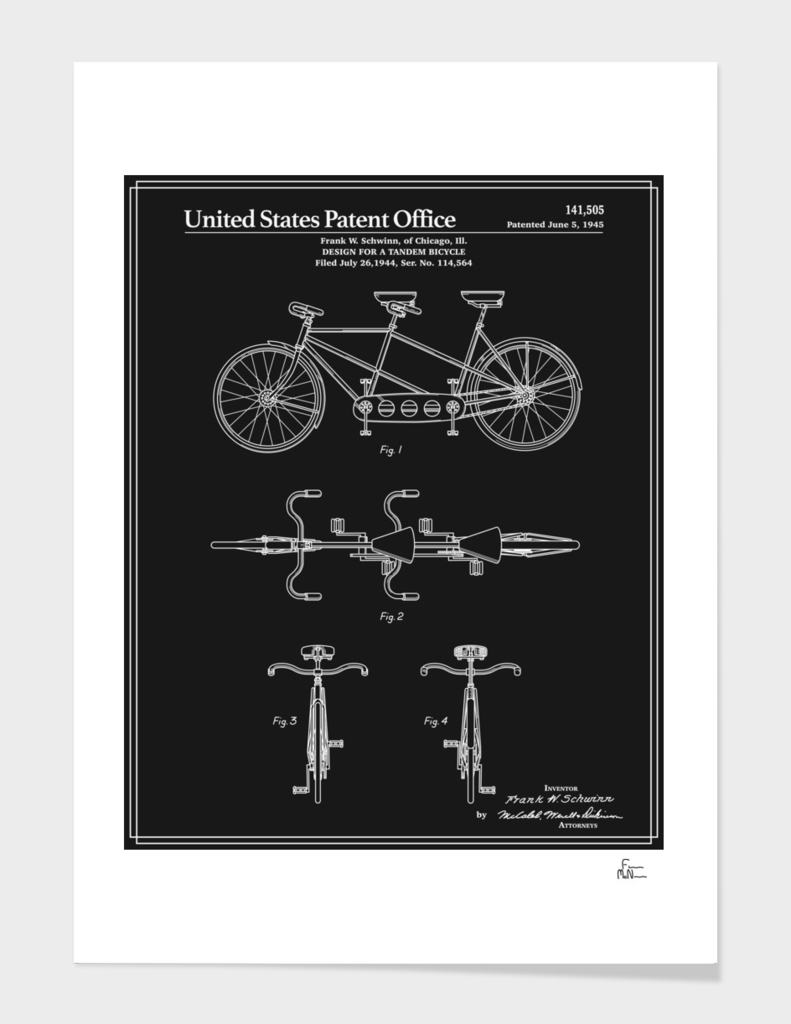 Tandem Bicycle Patent - Black