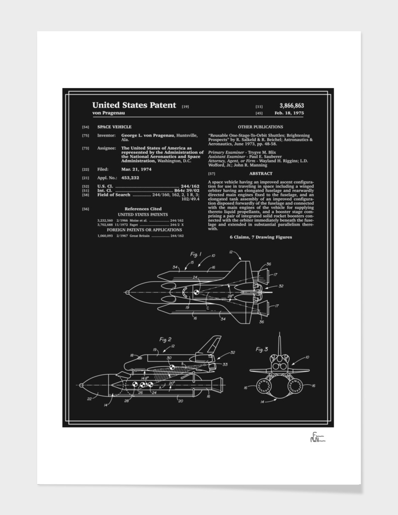 Space Shuttle Patent - Black