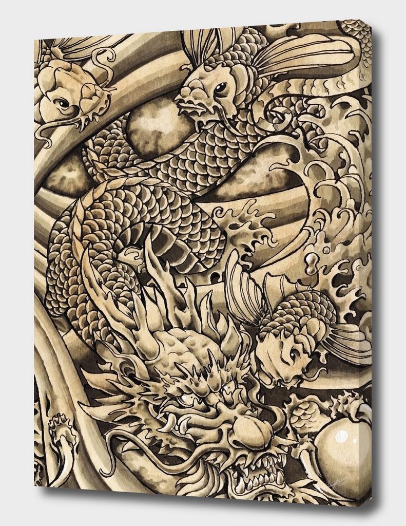 Oriental Dragon & Koi Fish