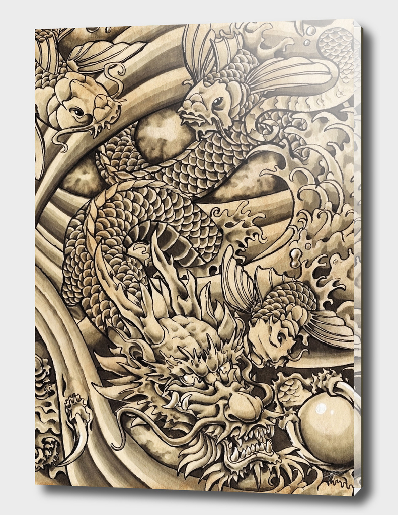Oriental Dragon & Koi Fish
