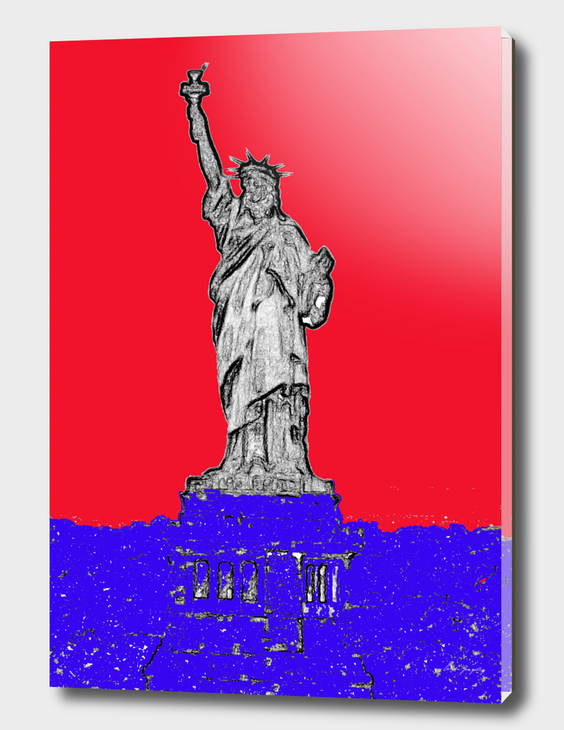 Statue of Red White and Blue
