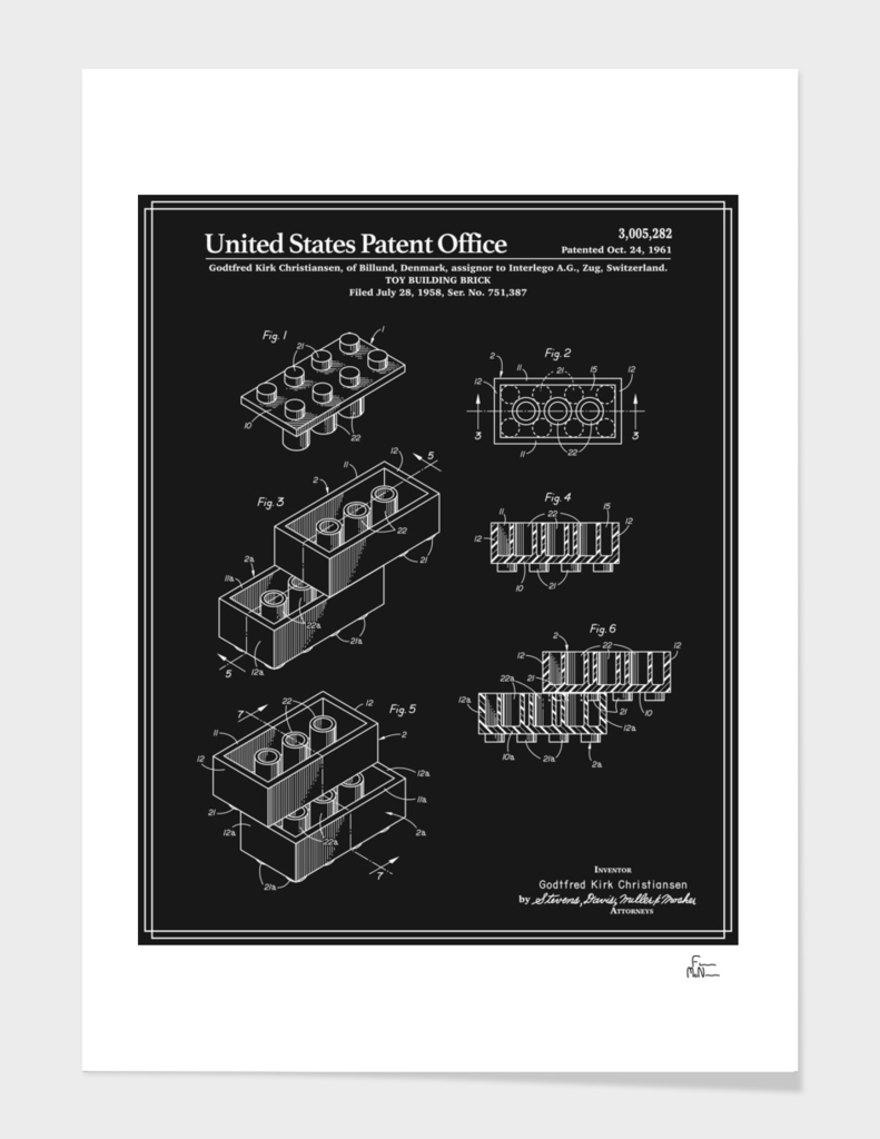 Toy Building Brick Patent - Black