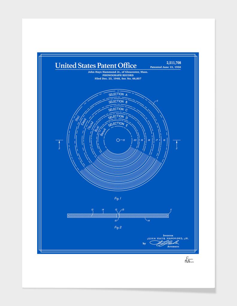 Phonograph Record Patent - Blueprint