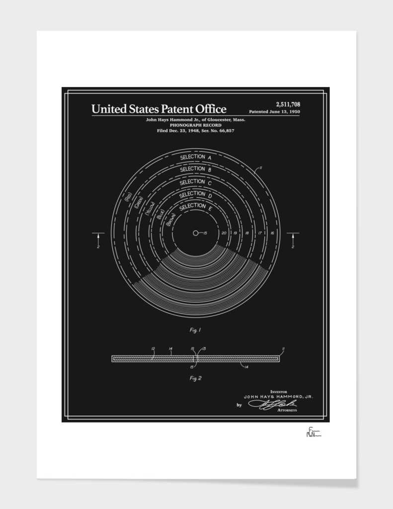 Phonograph Record Patent - Black