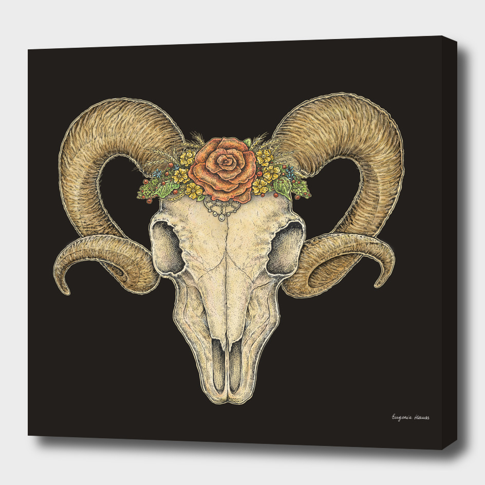 Ram Skull In A Floral Crown