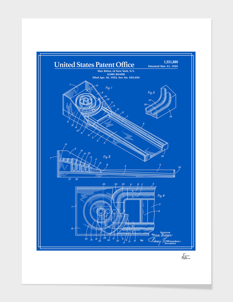Skee Ball Patent - Blueprint