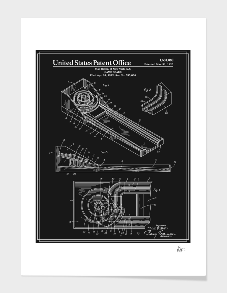 Skee Ball Patent - Black