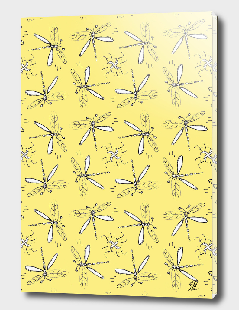 Dragonfly Sketches Pattern On Yellow Back